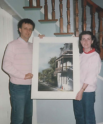 Margaret and Joe Finnegan in 1985 as new owners of St Francis Inn with a painting by Stephen Scott Young