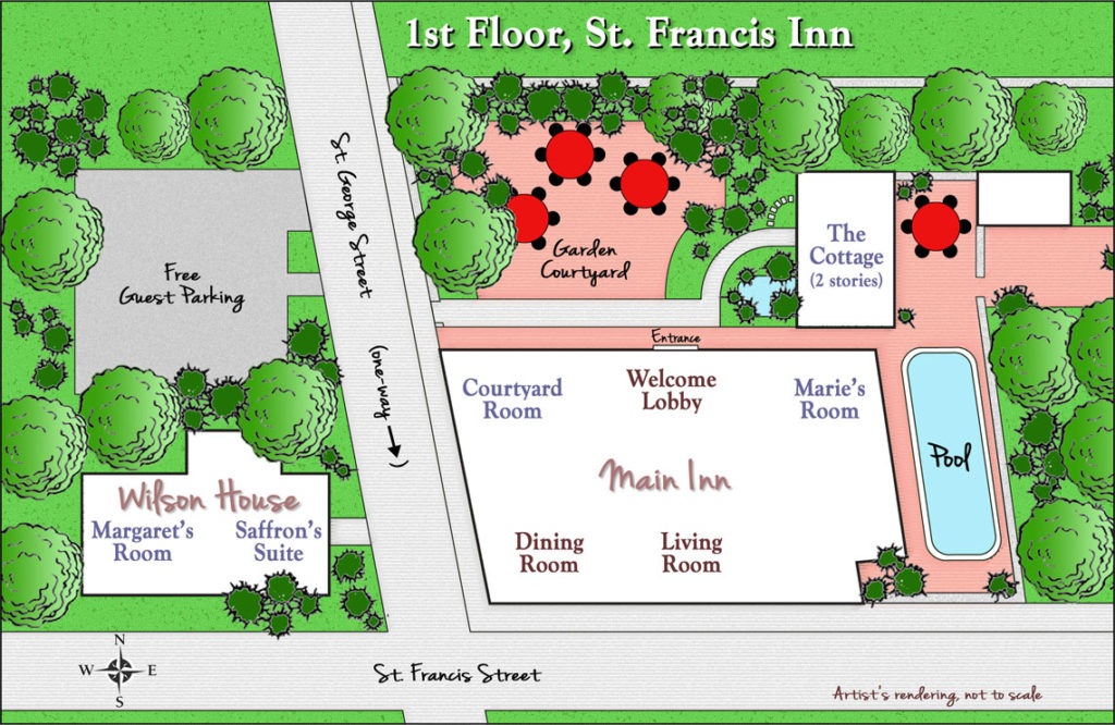 Inn Floor Plans 10  1stFloor1140 St. Francis Inn St. Augustine Bed and Breakfast