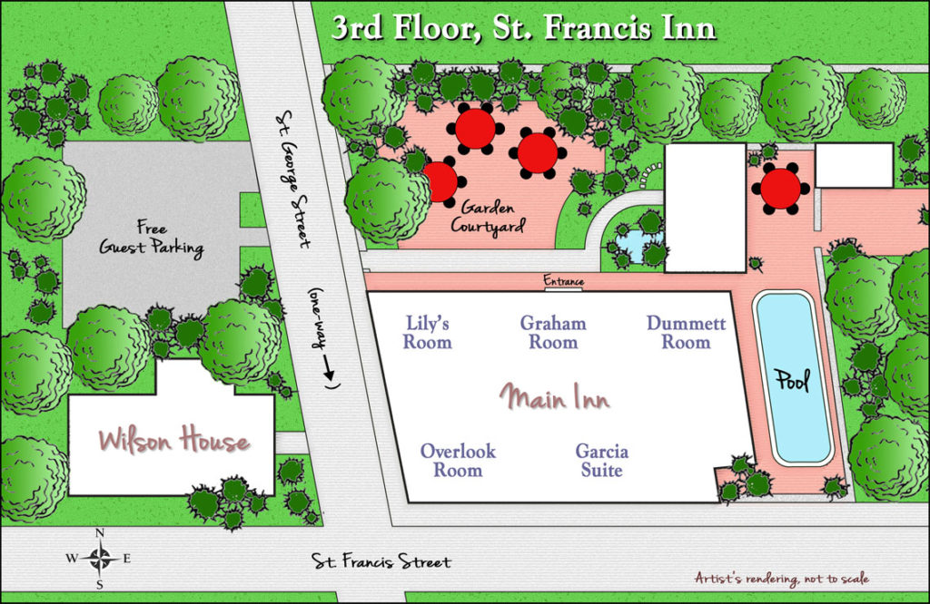 Inn Floor Plans 12  3rdFloor1140 St. Francis Inn St. Augustine Bed and Breakfast