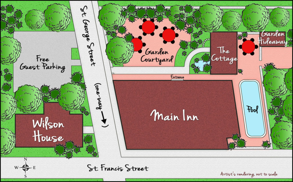 Map of Property 10 property1140 St. Francis Inn St. Augustine Bed and Breakfast
