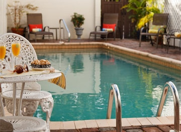 The Pool at St. Francis Inn makes a great place to space away your worries when you book a St Augustine Vacation Packages