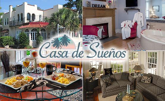 Collage of Casa de Suenos photos and logo