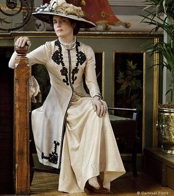 Scene from Downton Abbey with costume from Exhibition