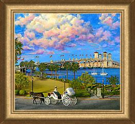 framed bayfront st augustine canvas print