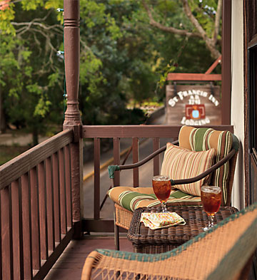 A relaxing spot on the second floor balcony, overlooking St. George Street