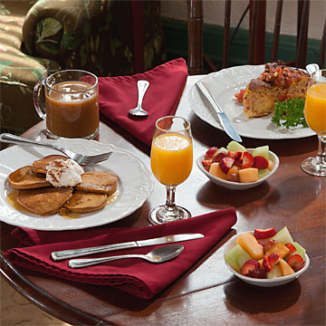 breakfast selections, pancakes, quiche, fresh fruit