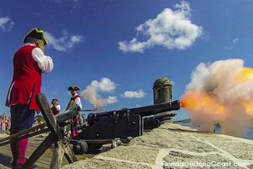 Cannon firing at Castillo de San Marcos
