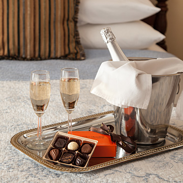 Champagne and chocolates in the room