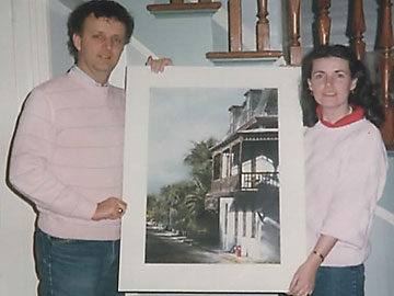 Joe and Margaret Finnegan with a painting of the Inn, taken in 1985 just after the couple had purchased the Inn