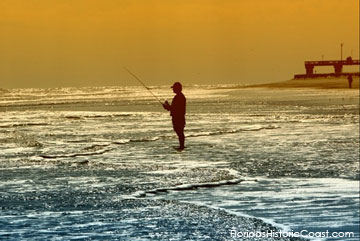 Fishing in the surf near the pier on Anastasia Island