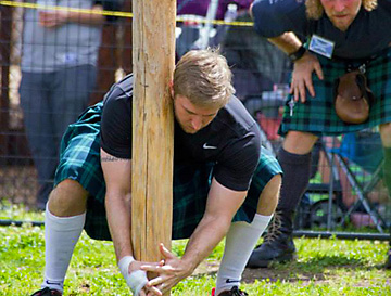 Highland games competitor during Celtic Festival