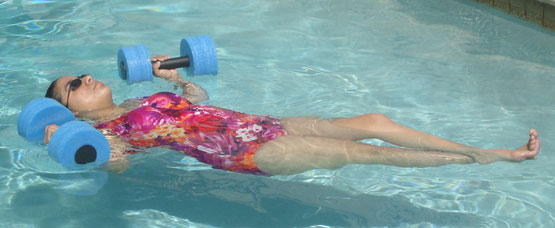exercise in heated swiming pool