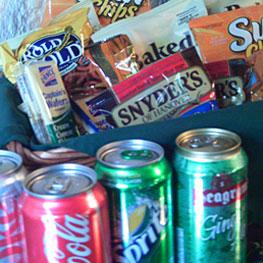 nighttime snacks and sodas