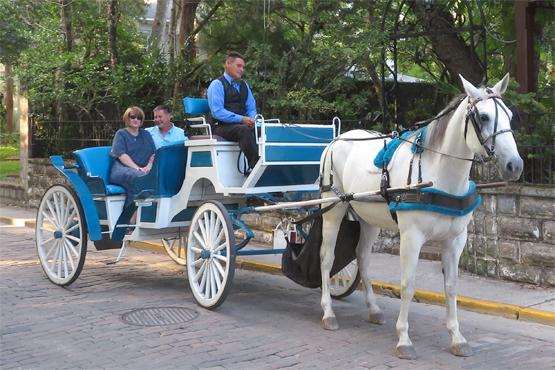 Wedding Carriage with celebrating couple